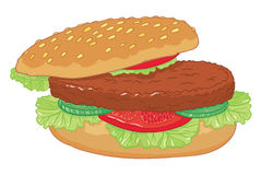 Big delicious vector  burger. Vector hand drawing  big delicious burger with cucumber, lettuce, tomatoes and chop on a bun with sesame seeds Stock Photos