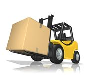 Big delivery. 3D Rendered yellow forklift with big box over white background Royalty Free Stock Image
