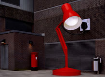The big desk lamp in Birmingham city center. The big red desk lamp in Birmingham city center Stock Photography