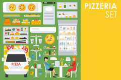 Big detailed Pizzeria Interior flat icons set. Menu, Refrigerator, Waiter, Chairs, Tables. Pizza conceptual web vector Stock Photography