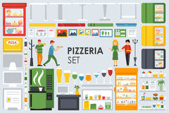 Big detailed Pizzeria Interior flat icons set. Menu, Refrigerator, Waiter, Glasses, Coffee, Computer. Pizza conceptual Royalty Free Stock Photography