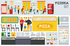 Big detailed Pizzeria Interior flat icons set. Minibar, Waiter, Chairs, Tables. Pizza conceptual web vector illustration Stock Photos