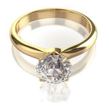 Big diamond golden ring Stock Photography
