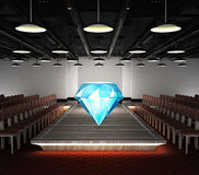 Big diamond jewel situated on fashion exhibition podium concept Royalty Free Stock Photography