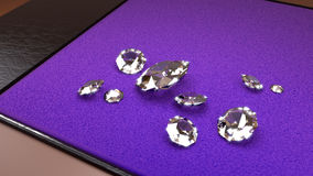 Big Diamonds on a Purple Tray Stock Photos