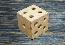 Big dice on old wood table Royalty Free Stock Images