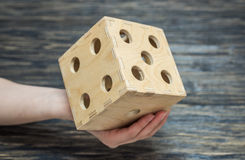 Big dice on old wood table.  Royalty Free Stock Image