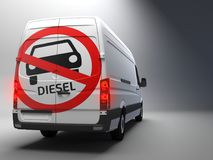 Diesel driving ban sign on transporter with german text. Big Diesel driving ban sign on transporter with german text 3d rendering Stock Images