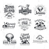 Big Dinosaur Vector Logo Set. Triceratops t-shirt illustration concept. Royalty Free Stock Photos