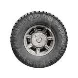 Big dirty off-road car wheel isolated on white Stock Photo