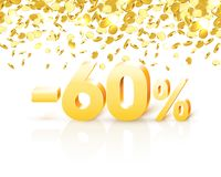 Big Discount, action with share discount percentage 60. Vector illustration royalty free illustration