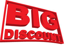 Big Discount 3-D Sign Royalty Free Stock Photo