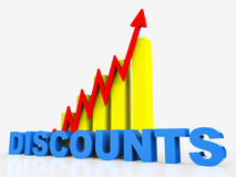 Big Discount Indicates Cut Rate And Data Stock Photo
