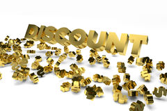 Big Discount label with gold dollar signs falling from the sky Stock Photo