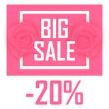 Big discount on a pink background for 20 percent. Big sale for twenty percent, two roses royalty free illustration