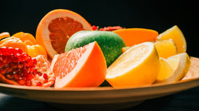 Big dish of fruit Stock Images