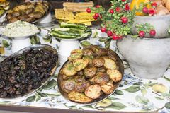 Typical Ukrainian food at outdoor food stall Royalty Free Stock Image