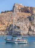 Big docked vintage wooden motor boat at sea Saint Paul bay of Lindos Stock Image