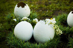 Big docorative eggs in park Royalty Free Stock Photos