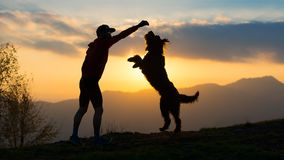 Big dog he gets up on two paws to take a biscuit from a man silh. Ouette with background at colorful sunset mountains Stock Photo