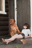 Big dog and Young Woman Royalty Free Stock Photos