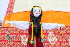 Big doll as the symbol of Maslenitsa during the folk carnival Stock Image