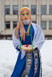 Big doll for Maslenitsa. Yaroslavl, Russia - March 5, 2016: Shrovetide in Russia. Big doll for the burning. Maslenitsa or Pancake Week is the Slavic Holiday that Stock Photo