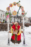 Big doll for Maslenitsa. Yaroslavl, Russia - March 5, 2016: Shrovetide in Russia. Big doll for the burning. Maslenitsa or Pancake Week is the Slavic Holiday that Royalty Free Stock Images