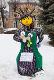 Big doll for Maslenitsa. Yaroslavl, Russia - March 5, 2016: Shrovetide in Russia. Big doll for the burning. Maslenitsa or Pancake Week is the Slavic Holiday that Royalty Free Stock Image