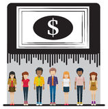 A big dollar check above the group of people Stock Images
