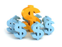 Big dollar currency symbol as leader of other group Stock Photos