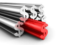 Big Dollar Currency Symbols With Red Forward Leader Stock Images