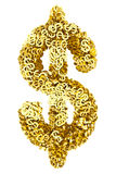 Big dollar sign composed of many golden small dollar signs on white Stock Image