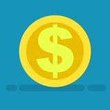 Big Dollar Symbol on Gold Coin Icon Cartoon Style Royalty Free Stock Photos