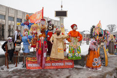 Big dolls for Maslenitsa. Yaroslavl, Russia - March 5, 2016: Maslenitsa (pancake week, shrovetide) is a carnival of farewell winter and meeting spring in Russia Stock Images