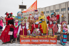 Big dolls for Maslenitsa. Yaroslavl, Russia - March 5, 2016: Maslenitsa (pancake week, shrovetide) is a carnival of farewell winter and meeting spring in Russia Stock Photo