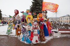 Big dolls for Maslenitsa. Yaroslavl, Russia - March 5, 2016: Maslenitsa (pancake week, shrovetide) is a carnival of farewell winter and meeting spring in Russia stock photos