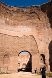 BIg Dome ruins with turists at Caracalla springs - Rome Royalty Free Stock Image
