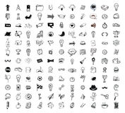 Big doodle set, collection icon, vector. Royalty Free Stock Images