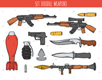 Big doodle set of weapon, shells, handwork bombs. Machine gun. Doodle weapon. Sketch revolver and bullets. Explosive and bomb. Grenade and knife. Color drawn Stock Photo