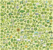Big doodled ECOLOGY icons collection Stock Images