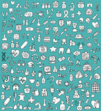 Big doodled medicine and health icons collection in black and wh Royalty Free Stock Images
