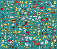 Big doodled summer and holidays icons collection Royalty Free Stock Photo
