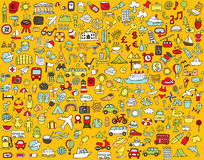 Big Doodled Travel And Tourism Icons Collection Stock Photo