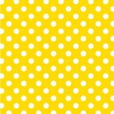 big dots polka seamless white yellow 免版税图库摄影