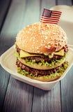 Big double-decker American cheeseburger Stock Image