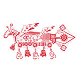 Big double Pegasus. Toy mechanical horse with wings vector illustration