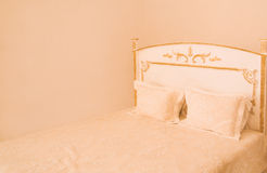 Big double white  bed Royalty Free Stock Photo
