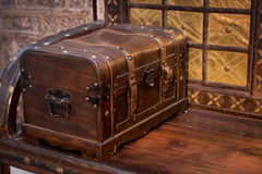 Big dower chest, retro vintage style. Closed Royalty Free Stock Photo
