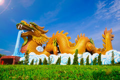 Big dragon at Dragon descendants public museum. With blue sky background at  Suphanburi city, Thailand Royalty Free Stock Images